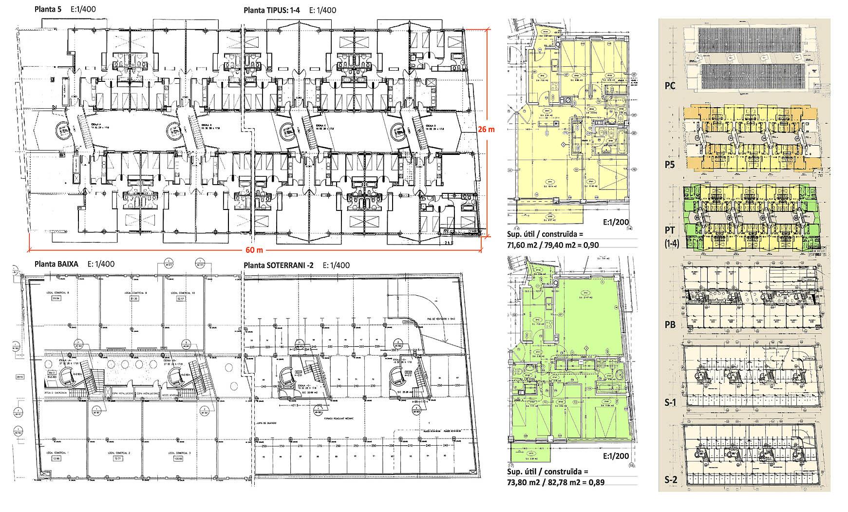 76 viviendas, comercios y aparcamiento subterráneo en Granollers (1997), en colaboración con EGC 1/2