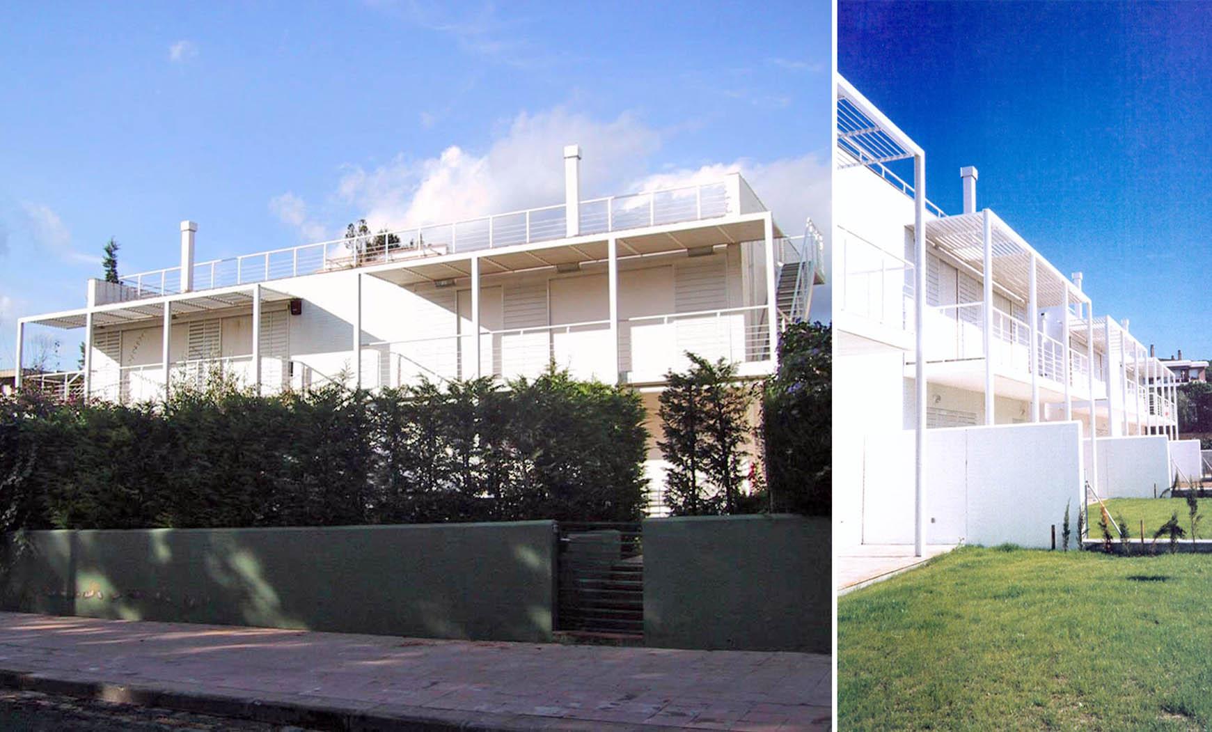 8 viviendas pareadas con piscina y sótano en Calella (1993), en colaboración con EGC/ABS