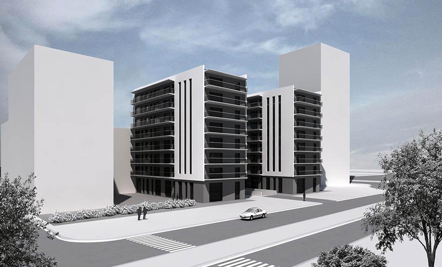 94 viviendas y aparcamiento en Calvell/Bilbao, Barcelona. Anteproyecto, 2003. En colab. con BCM 1/2