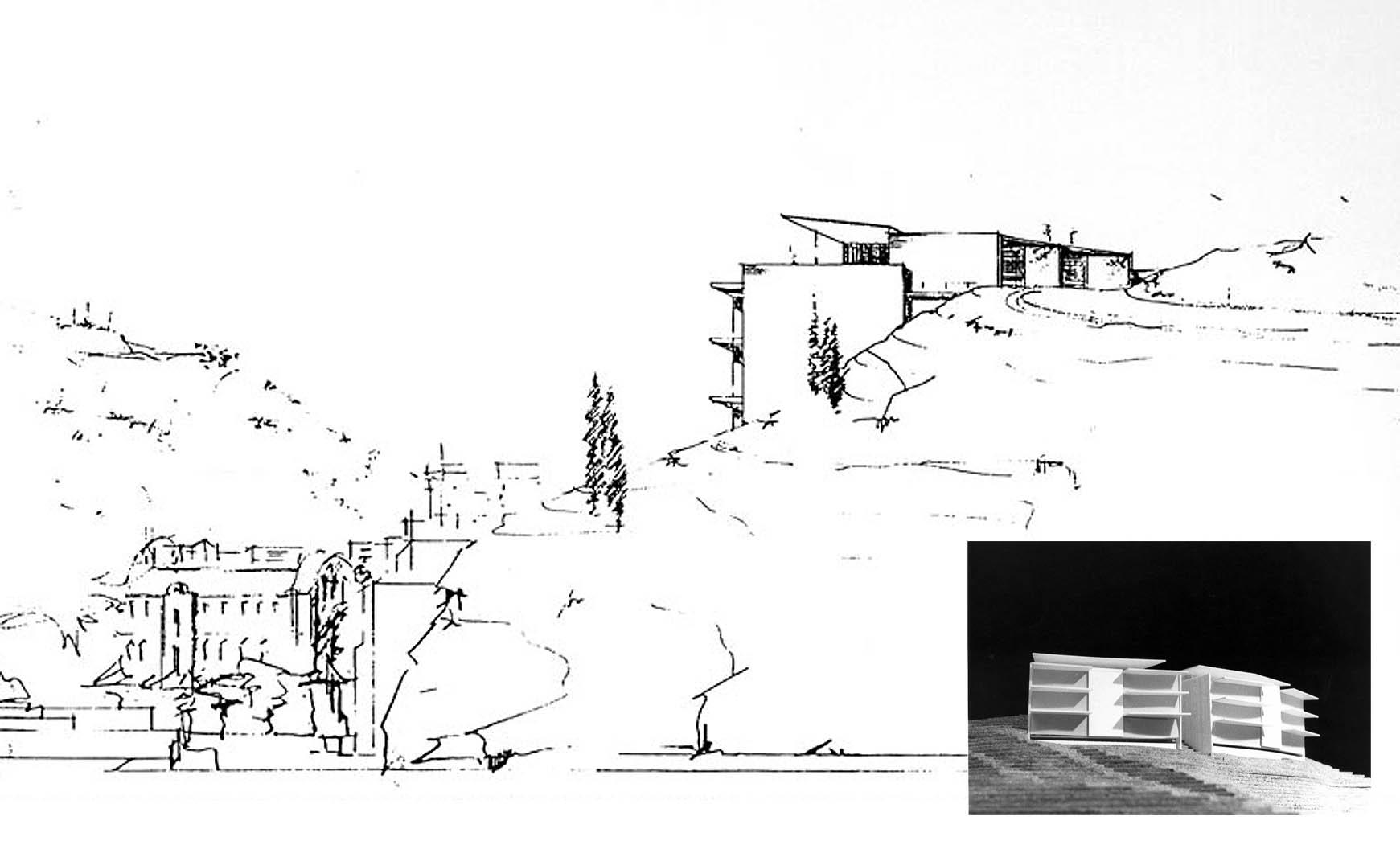 4 viviendas unifamiliares en calle Veciana, Barcelona. Proyecto básico, 1989. En colab. con EGC/ABS