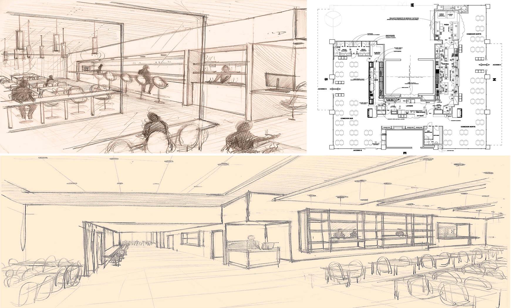 Reforma interior para restaurante en pl. Europa, Hospitalet de Llobregat. Proy. ejecutivo, 2012