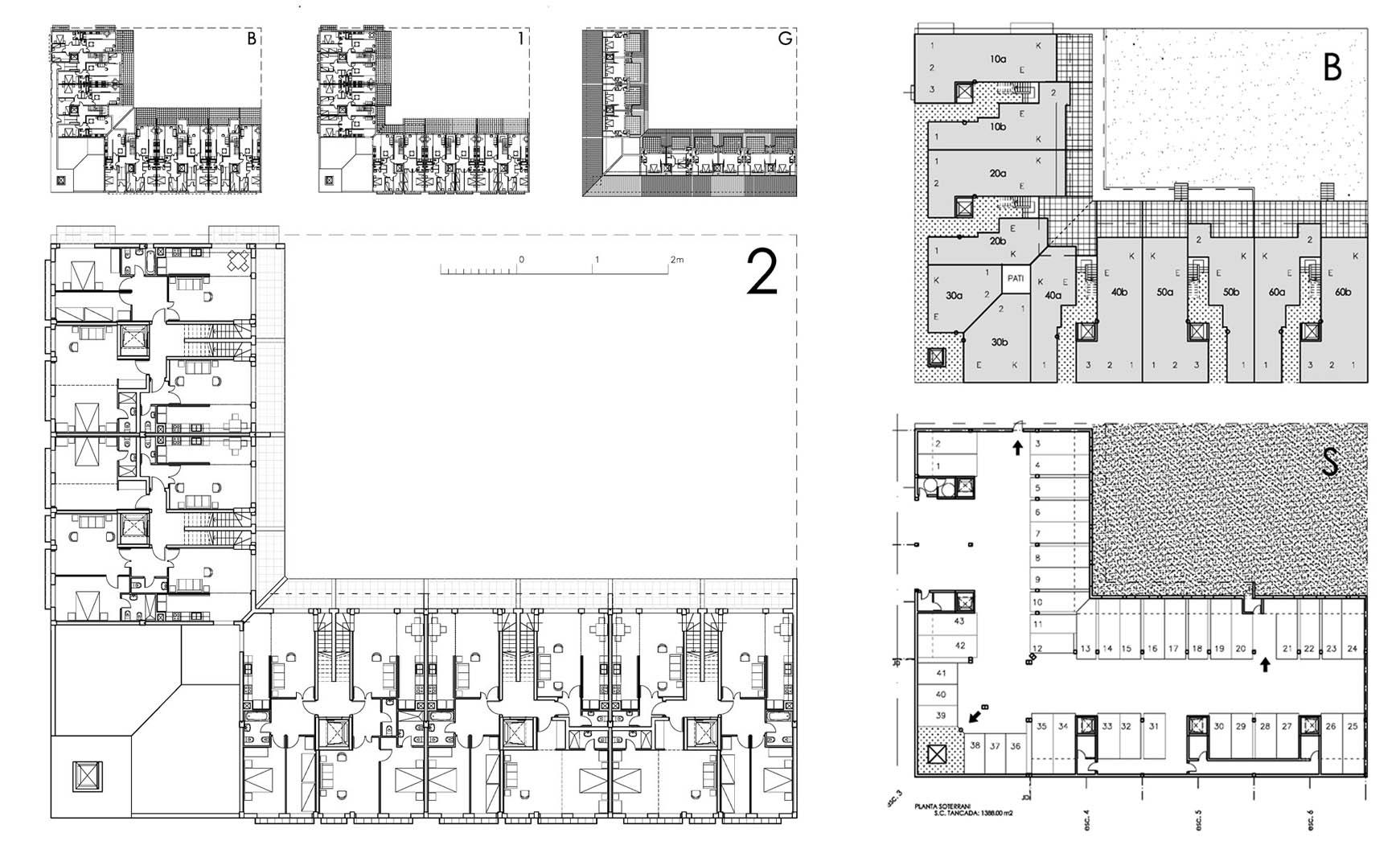 40 viviendas y aparcamiento subterráneo en Perafort, tarragona. Anteproyecto, 2007.